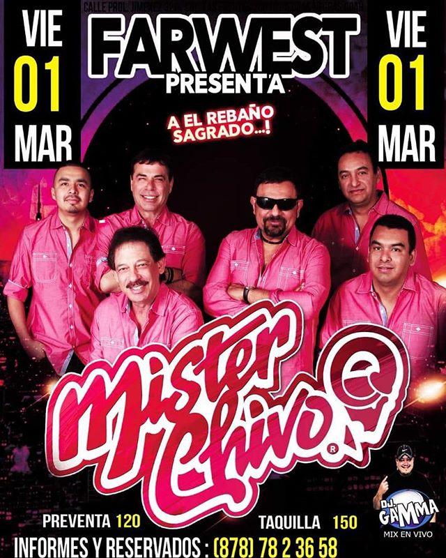 """🚨 Este fin de semana nos vemos en... 🚨 🔹 Viernes 1 de Marzo """"Far West"""" en Piedras Negras, Coach. 🔹 Sabado 2 de Marzo en """"Alamo Dance Hall"""" en Alamo Tx. ¡¡Los esperamos!! -Mister Chivo"""