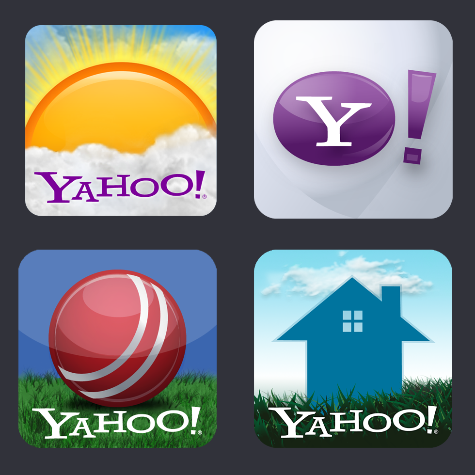 Mobile App Icons - Yahoo! WeatherYahoo!Yahoo! CricketYahoo! Real Estate