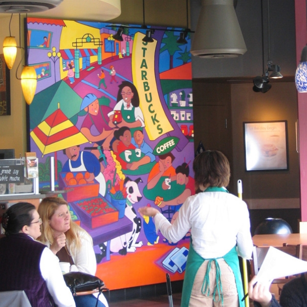 Localize - I was commissioned to paint a neighborhood of San Jose for Starbucks, incorporating site specific elements and locals.Acrylic on canvas, 9x7