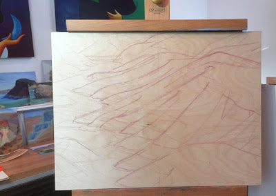 Sketching shapes on wood