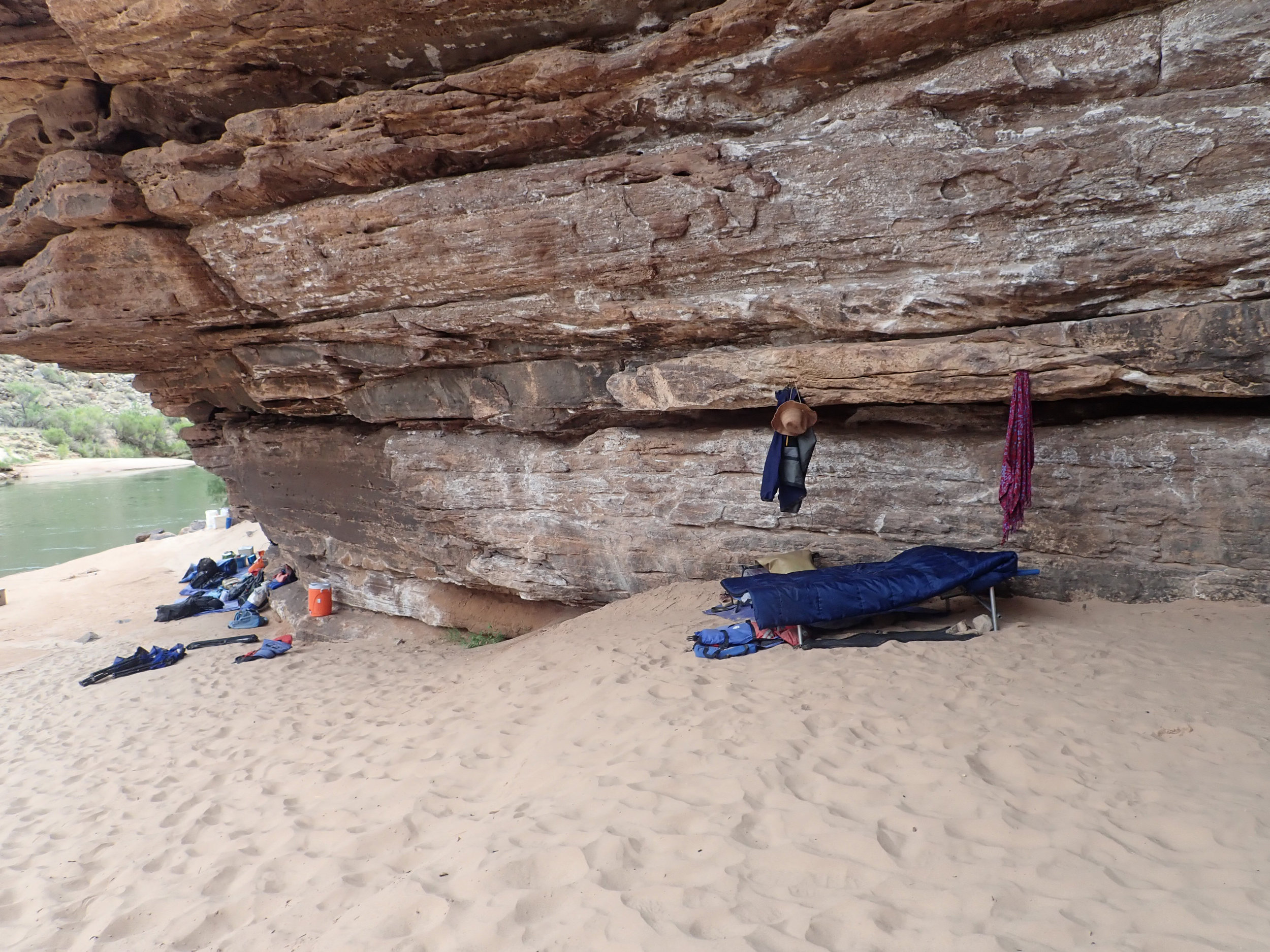 My 'bedroom' at Panchos Kitchen, mile 137 1/2. I stuck driftwood into the rock crevasses to hang my clothes.