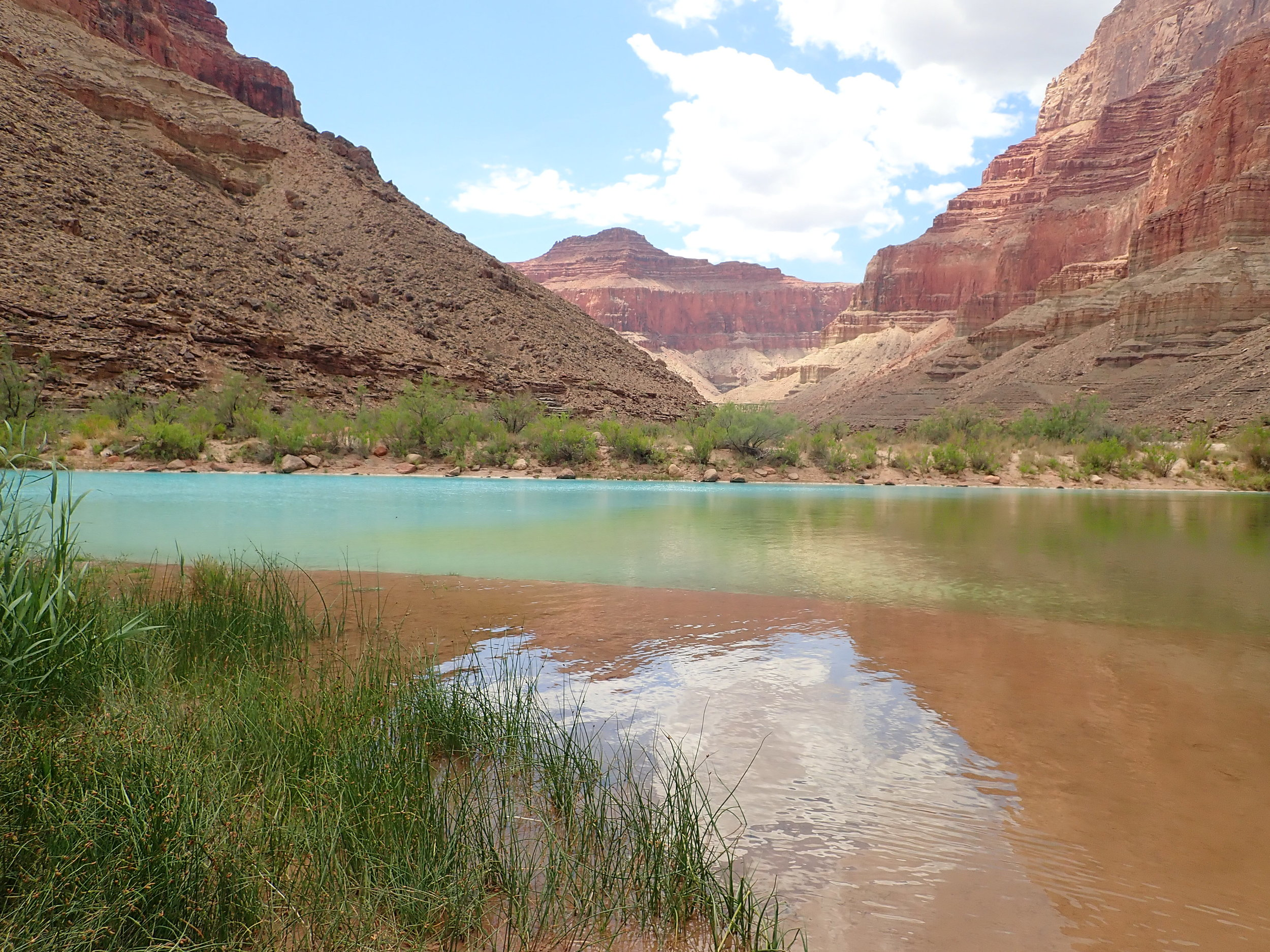 Confluence. Pale blue water meets emerald green water. Mile 61.7