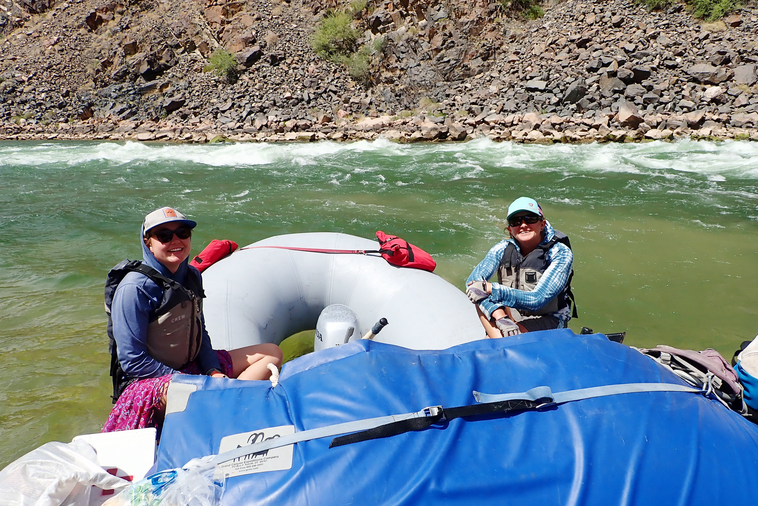 Hannah (left) our Swamper (aka guide in training) and Den our master River Guide!