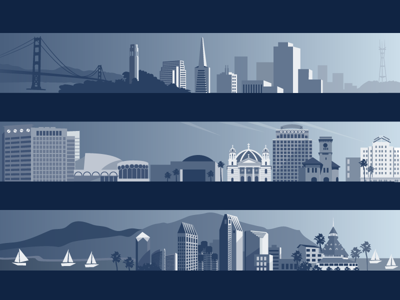 Illustrated Cities - Yahoo! Local: I illustrated some of the largest cities in the US for site specific headers within the product.