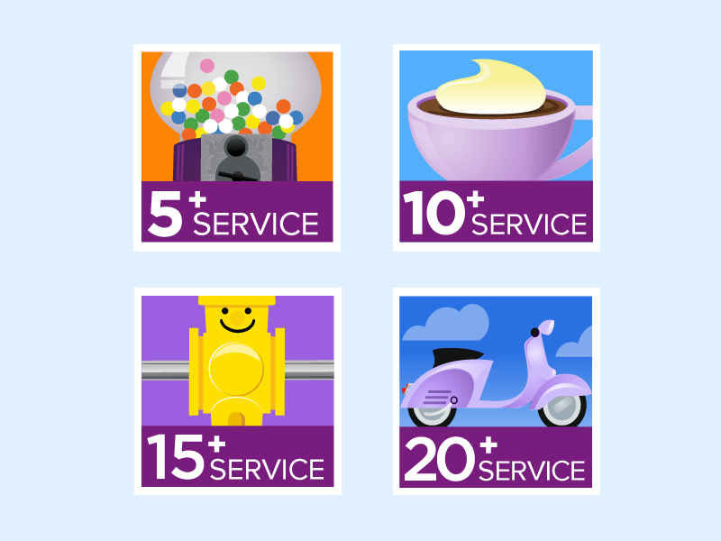 In-house Icons - Badge icons for each milestone year of employment