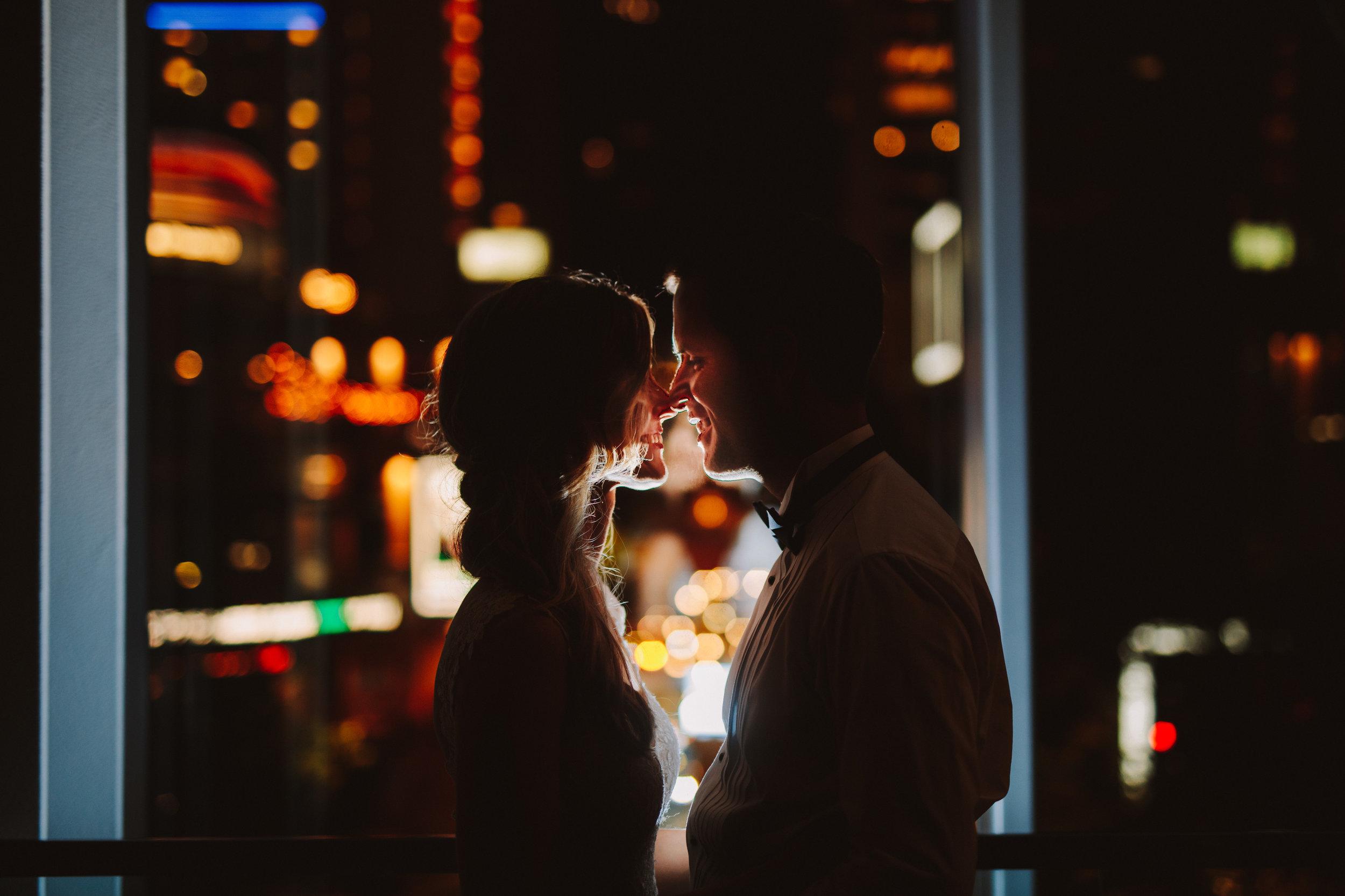 Charlotte NC City Lights Uptown Wedding Reception Portrait Photographer