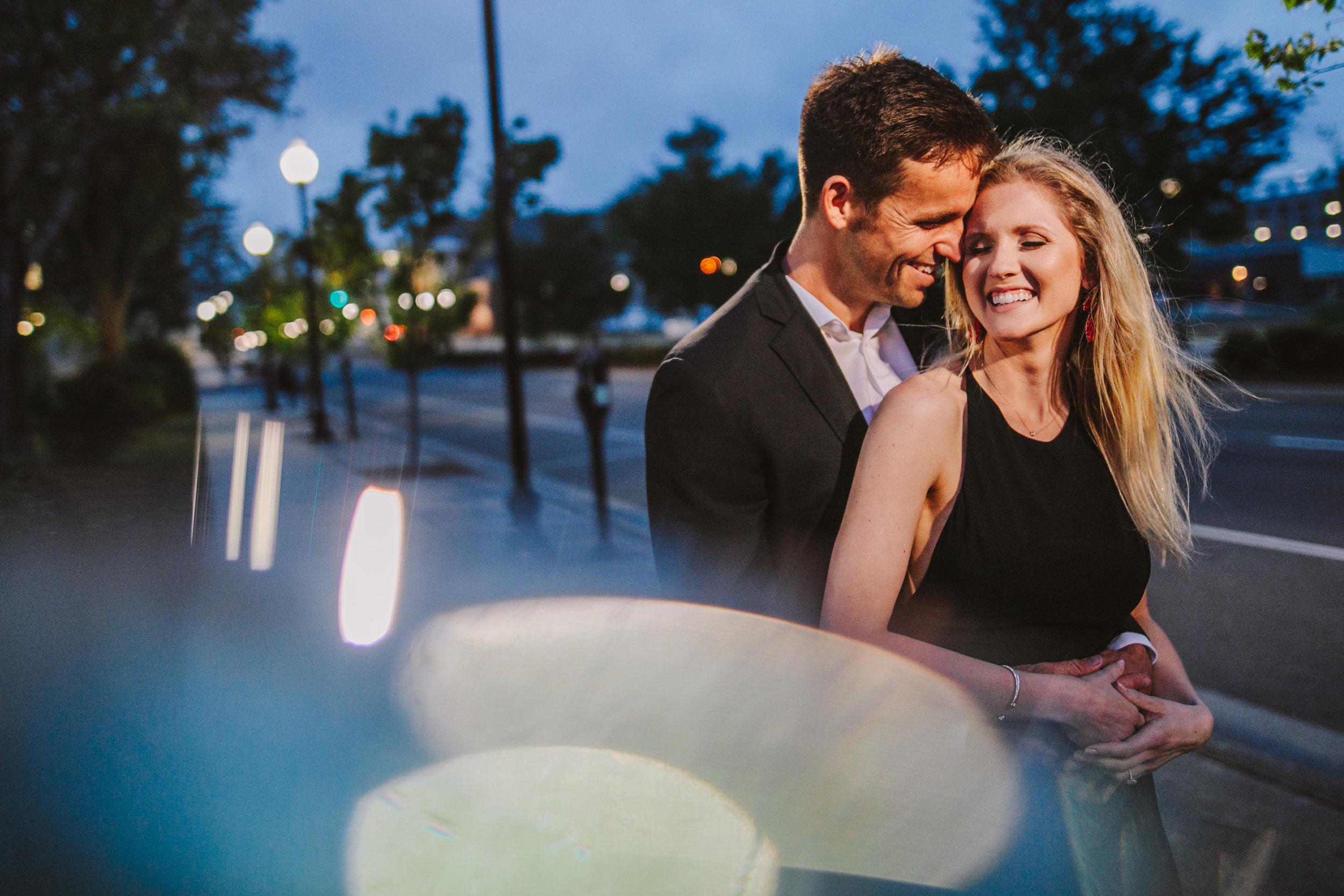 Convex lens photography for an engagement session in downtown wilmington nc
