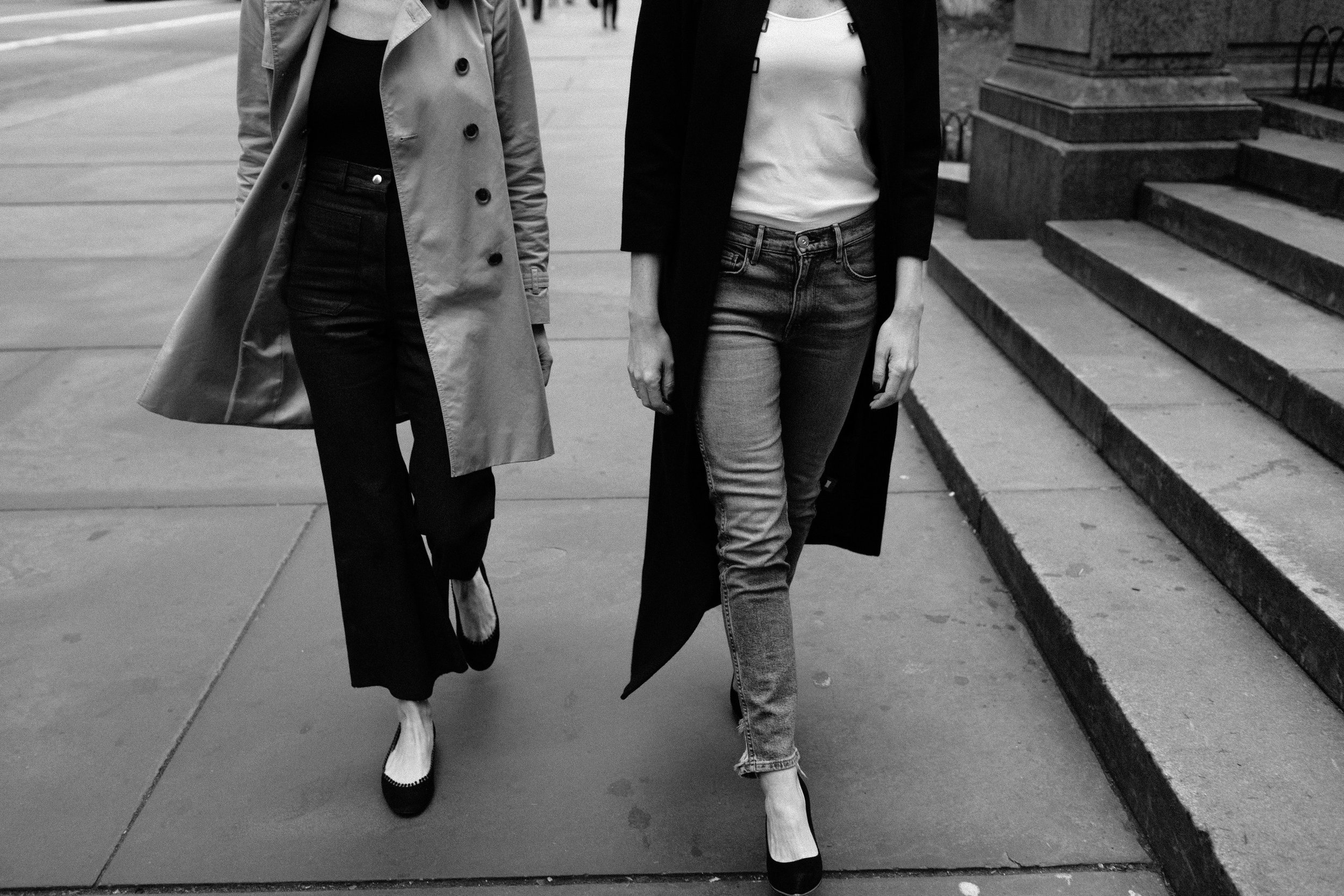 Left: trench by   Jcrew   collection / Ballet flats by   Chloe   Right:black coat   ayr  , shoes by   givenchy  , Cami by   Prada  , jeans   3x1