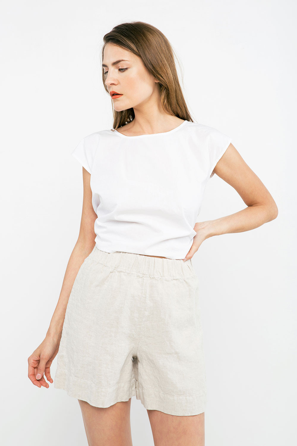 100% Linen shorts by   elizabeth suzanne