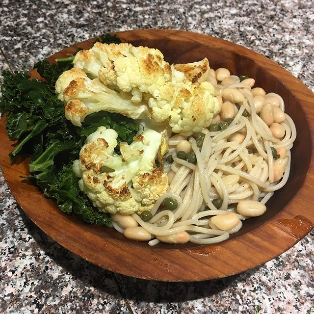 Lemon piccata with white beans over gluten free pasta. Served with baked cauliflower and steamed kale. Amazing plant based comfort foods. Give thanks for compassion. #plantpowered #vegan #liveplantbased #comfortfoods