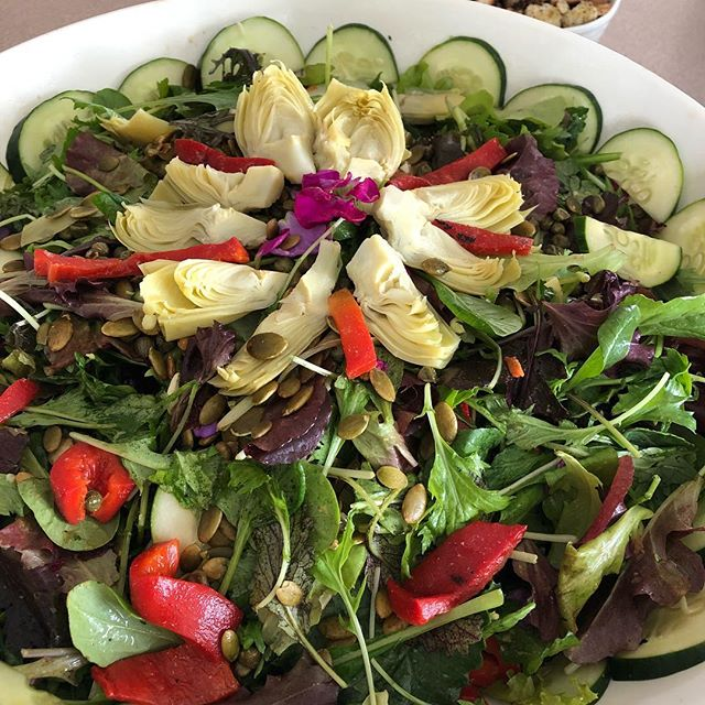 Simple salad with friends. Prepared by @soljoyyoga for potluck. High vibe tribe. Eat good food. Plants have all we need. Give thanks for knowledge #lovevegan #nourishyourself #liveplantbased #vegan #tribe