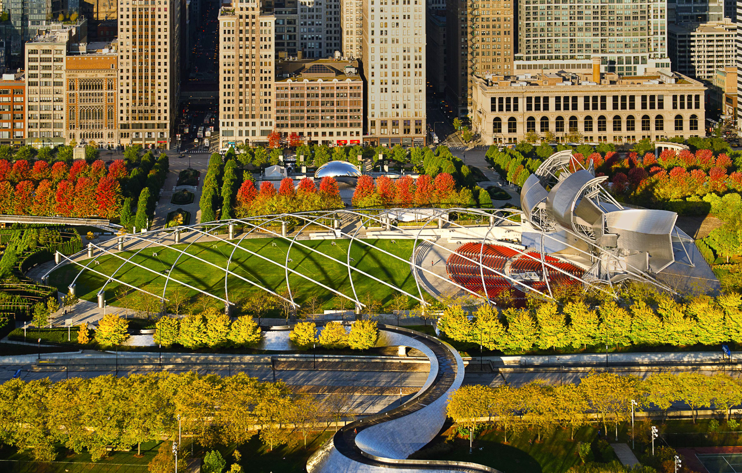 Image Title:  Millennium Park Fall - Aerial   Mat Sizes:  8x10, 11x14, 16x20   Float Mount Sizes:  12x18, 16x24, 20x30, 24x36, 28x42, 32x48, 36x54, 40x60