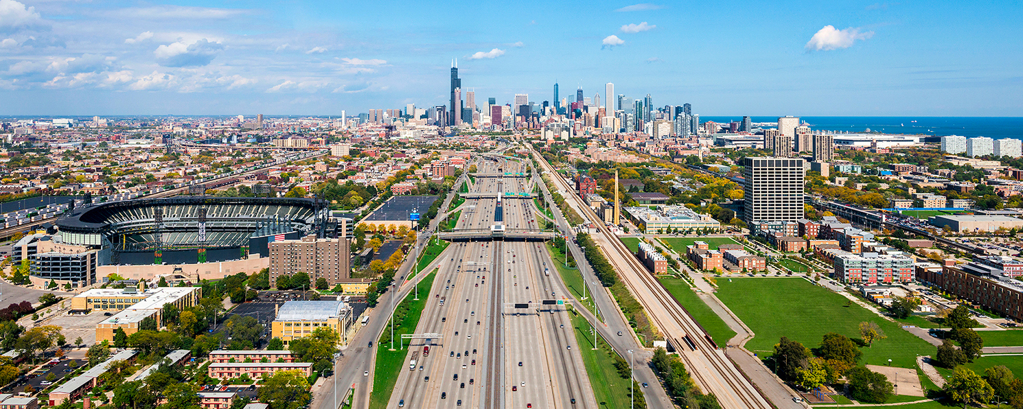 Image Title:  Chicago Skyline - Inbound Dan Ryan (I90) Aerial   Mat Sizes:  12x20  Float Mount Sizes:  07x18, 10x24, 12x30, 15x36, 17x42, 19x48, 22x54, 25x60