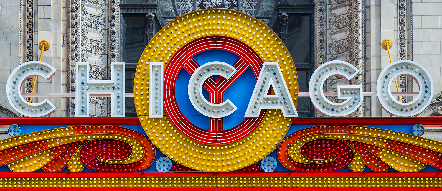 Image Title:  Chicago Theater Marquee   Mat Size:  12x20 (as displayed) or 08x10, 11x14, 16x20 (full frame)   Float Mount Sizes:  07x18, 10x24, 12x30, 15x36, 17x42, 19x48, 22x54, 25x60.