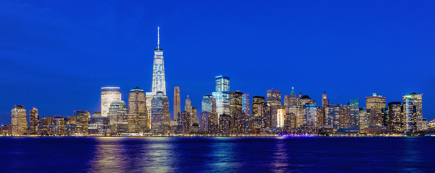 Image Title:  Lower Manhattan - Twilight   Mat Sizes:  12x20  Float Mount Sizes:  07x18, 10x24, 12x30, 15x36, 17x42, 19x48, 22x54, 25x60