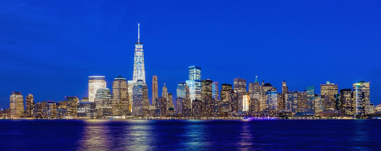Image Title: Lower Manhattan - Twilight   Mat Sizes: 12x20 Float Mount Sizes: 07x18, 10x24, 12x30, 15x36, 17x42, 19x48, 22x54, 25x60