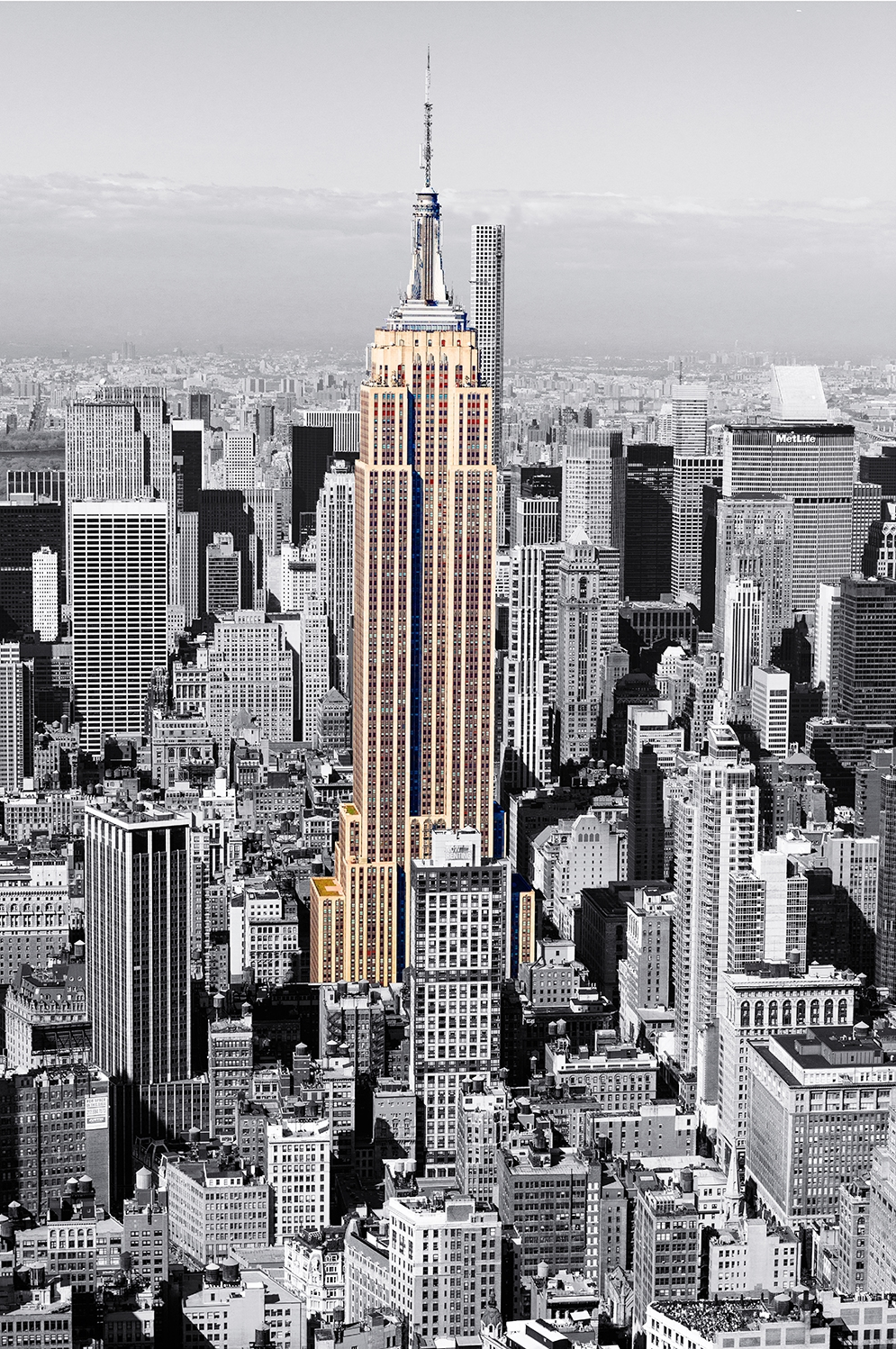 Image Title:  Empire State Building - Aerial   Mat Sizes:  8x10, 11x14, 16x20   Float Mount Sizes:  12x18, 16x24, 20x30, 24x36, 28x42, 32x48, 36x54, 40x60