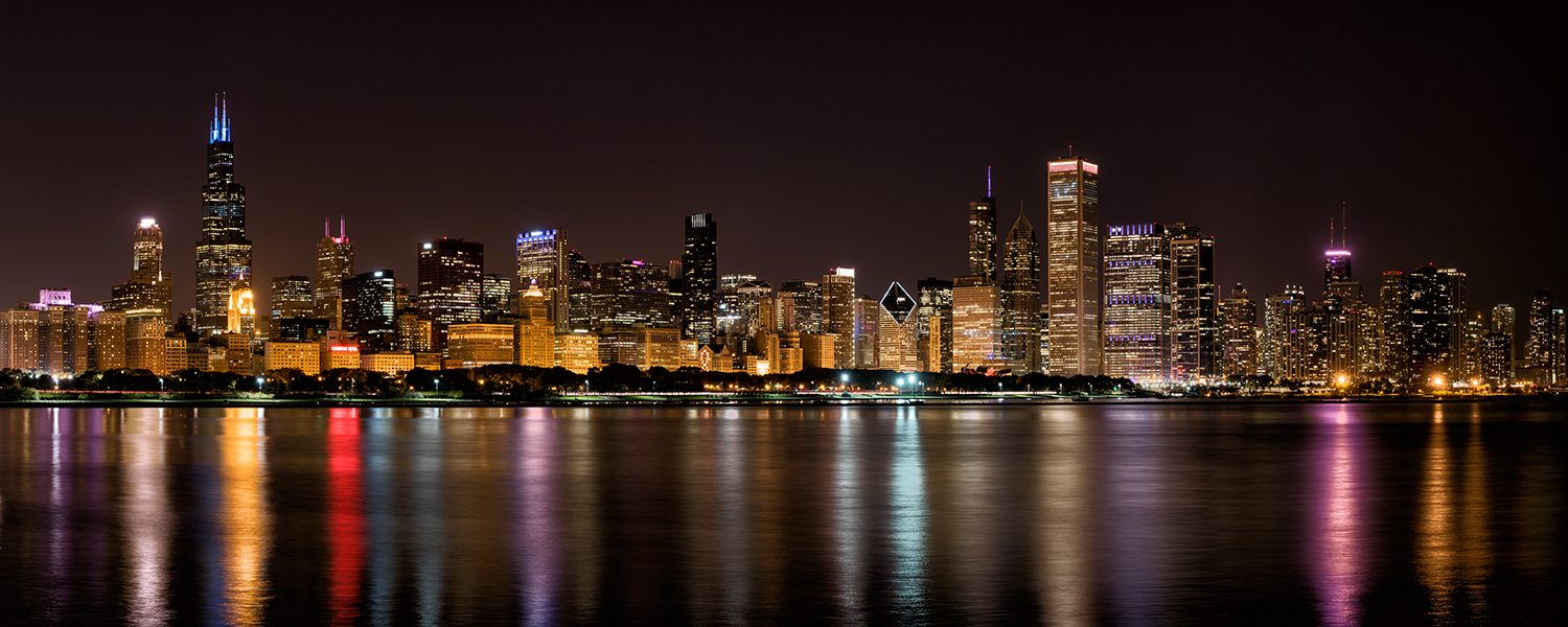 Image Title:  Chicago Skyline - Night   Mat Sizes:  12x20  Float Mount Sizes:  07x18, 10x24, 12x30, 15x36, 17x42, 19x48, 22x54, 25x60