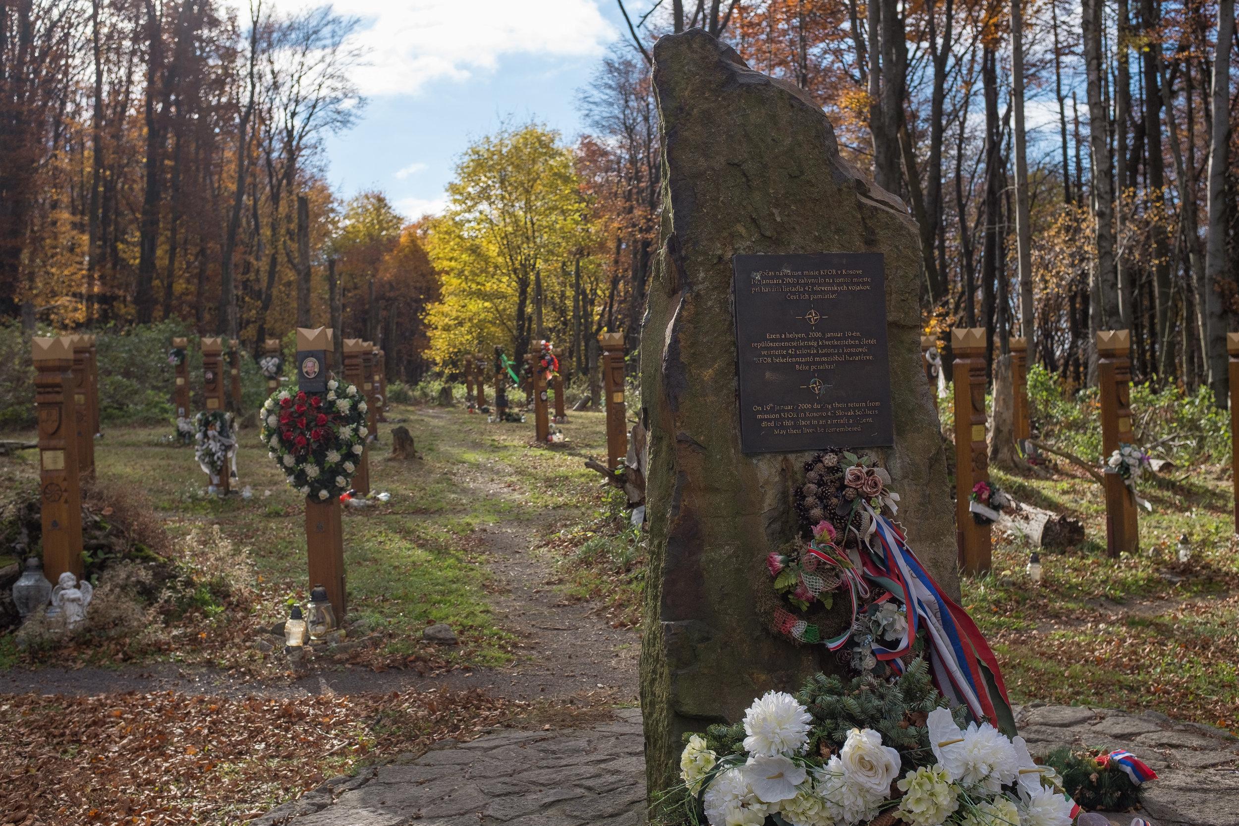 Memorial to the 2006 Slovak military plane crash.