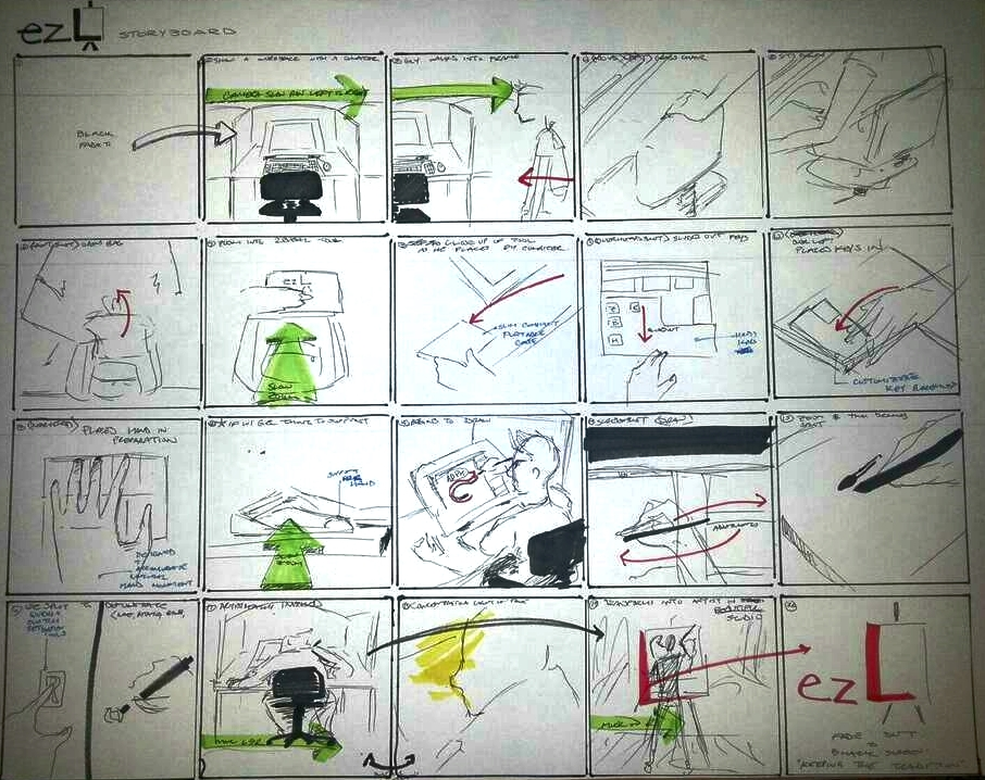 Storyboard illustrated by Johnathan Hayden