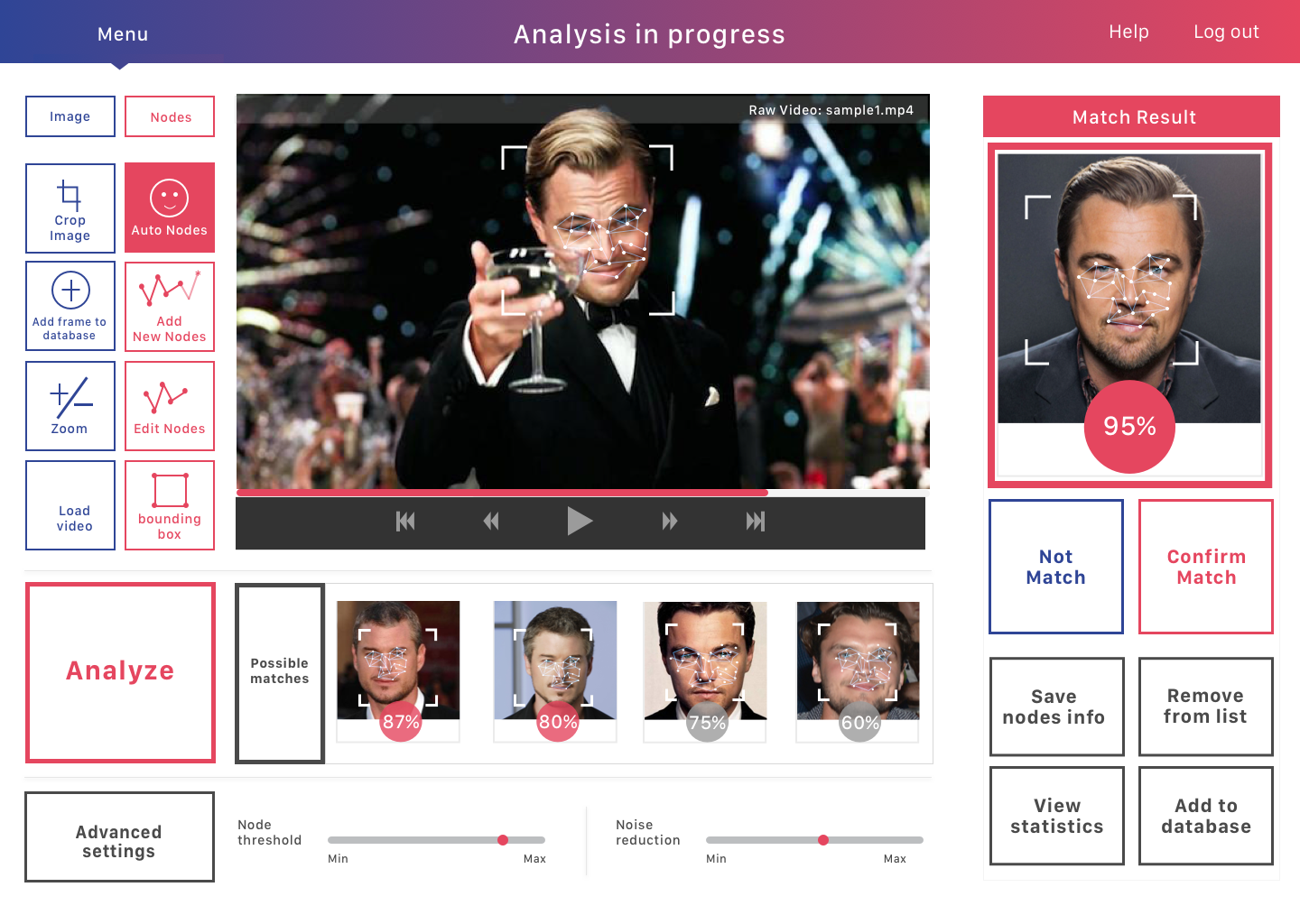 The FACE for facial recognition software - Online Quick Challenge Prototype via InVision here