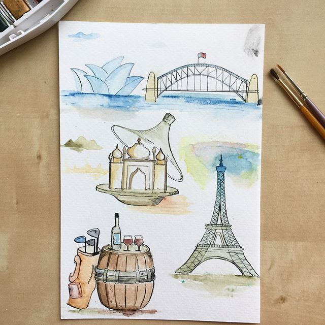 #productioninprocess #pip #design of birthday party invitation for my in-laws. . . . #watercolor #moroccan #taginepot #paris #eiffeltower #sydbeyharbourbridge #sydneyoperahouse #winetasting #winebarrel #wine #golfing #invitations #designerlife #designerwife