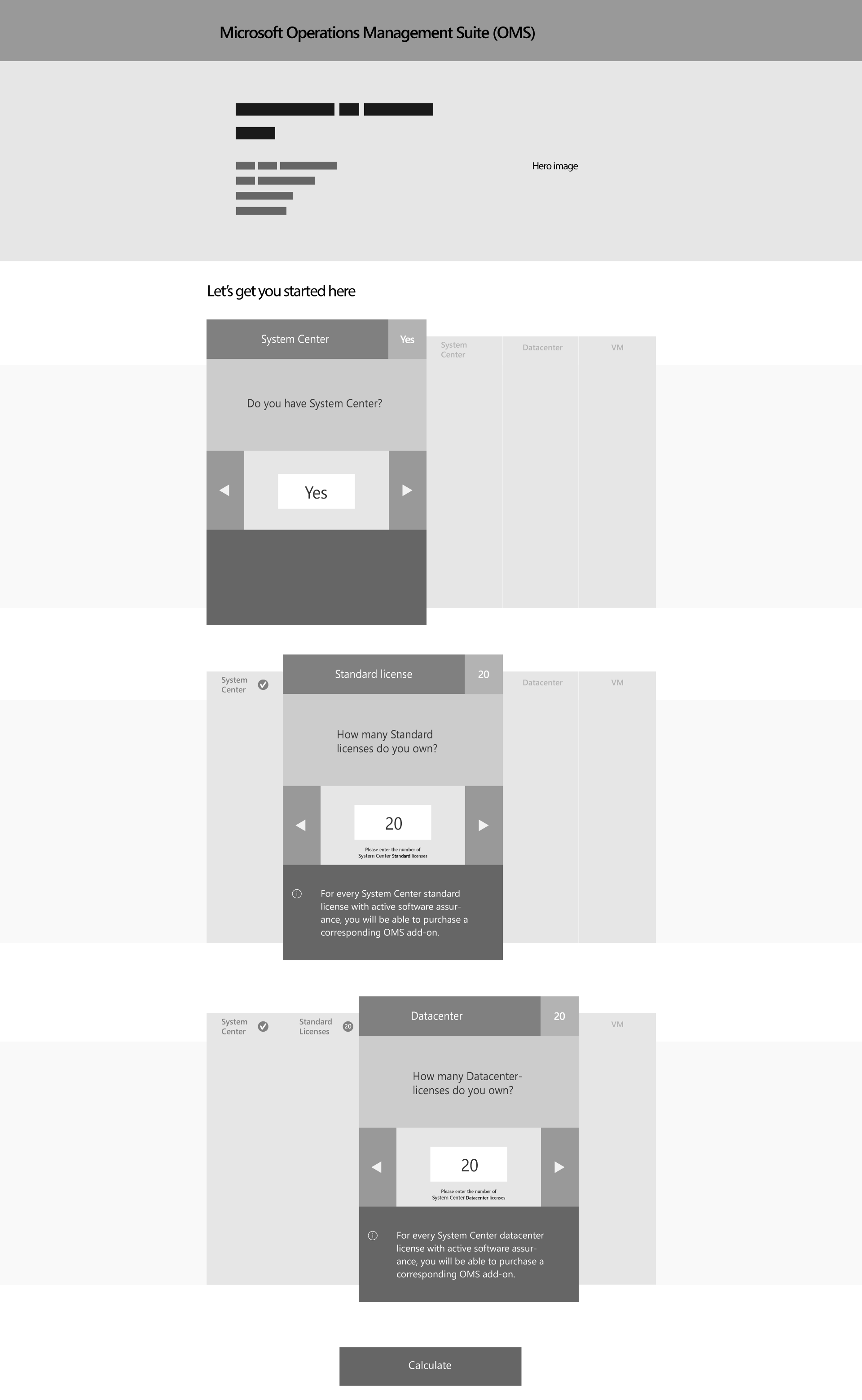 Wireframe 1.2 - Visual variation of display of questionnaire and input fields.