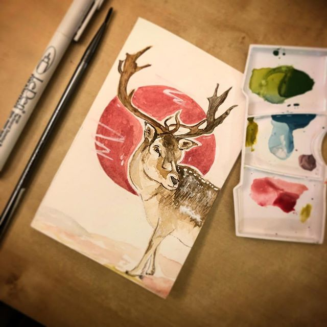 This is might be this year's card. What do you think? #reindeer #xmasprep #watercolor #watercolor_painting #copicpens #holidaycardmaking #designerlife