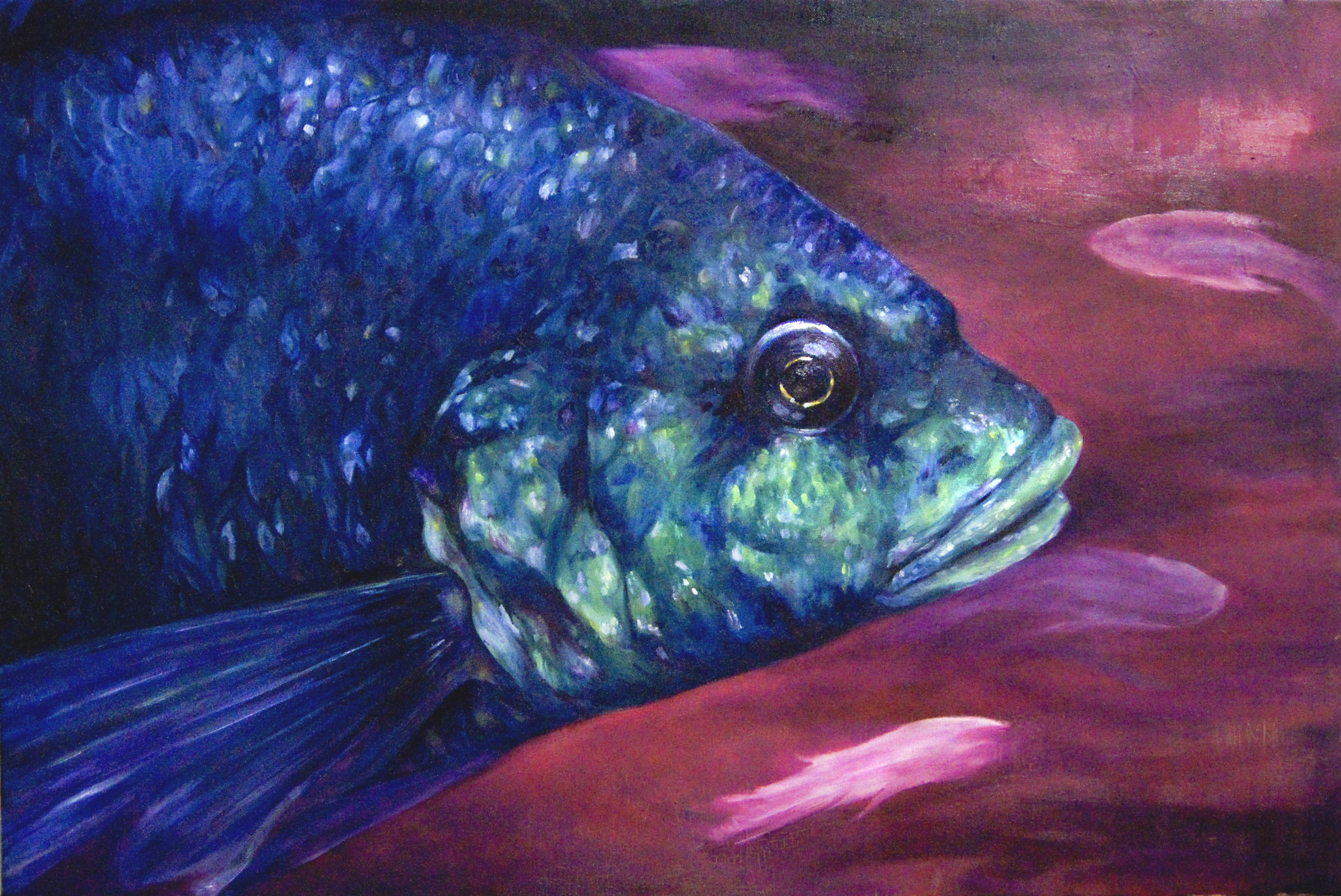 A Great and Terrible Fish /  Sold  oil on canvas 24 x 36 in