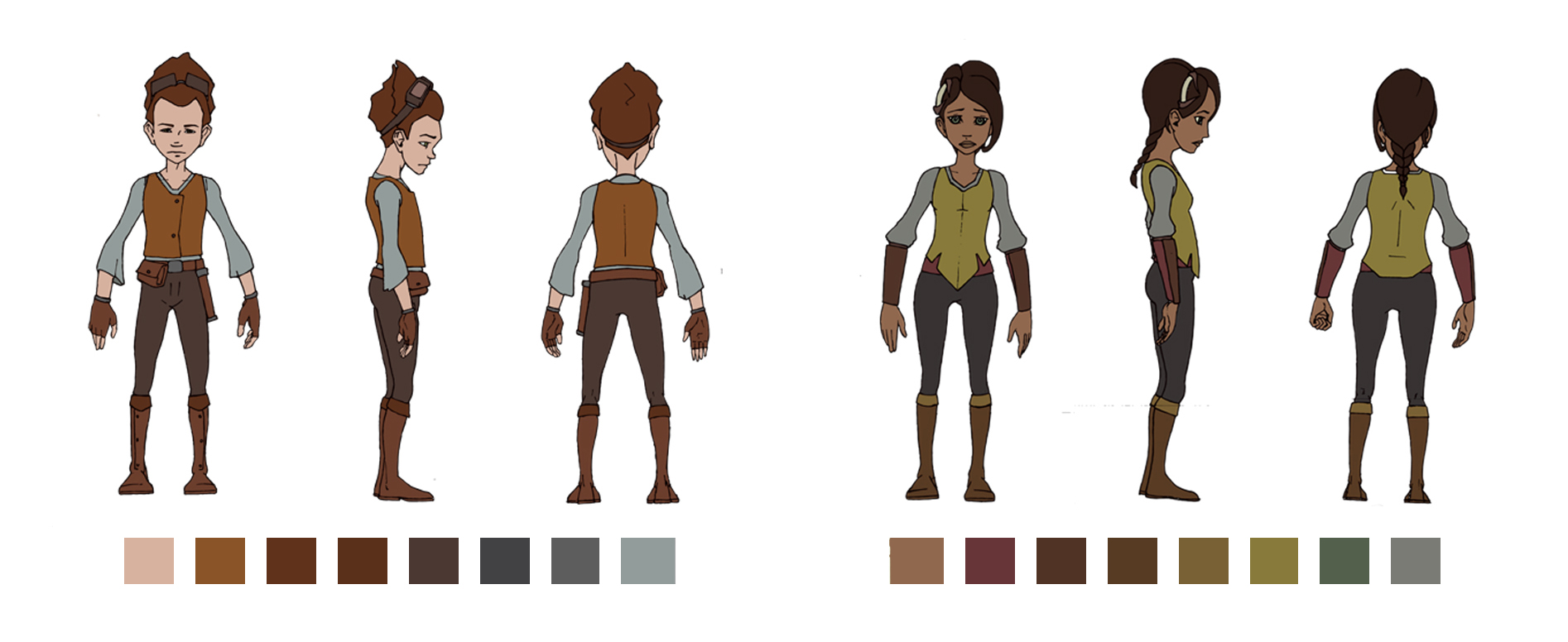 Head Colorist:  I structured all of the color palettes for the film. Above are two of the main character turnarounds (designed by Benjamin Sisson) with their final colors.