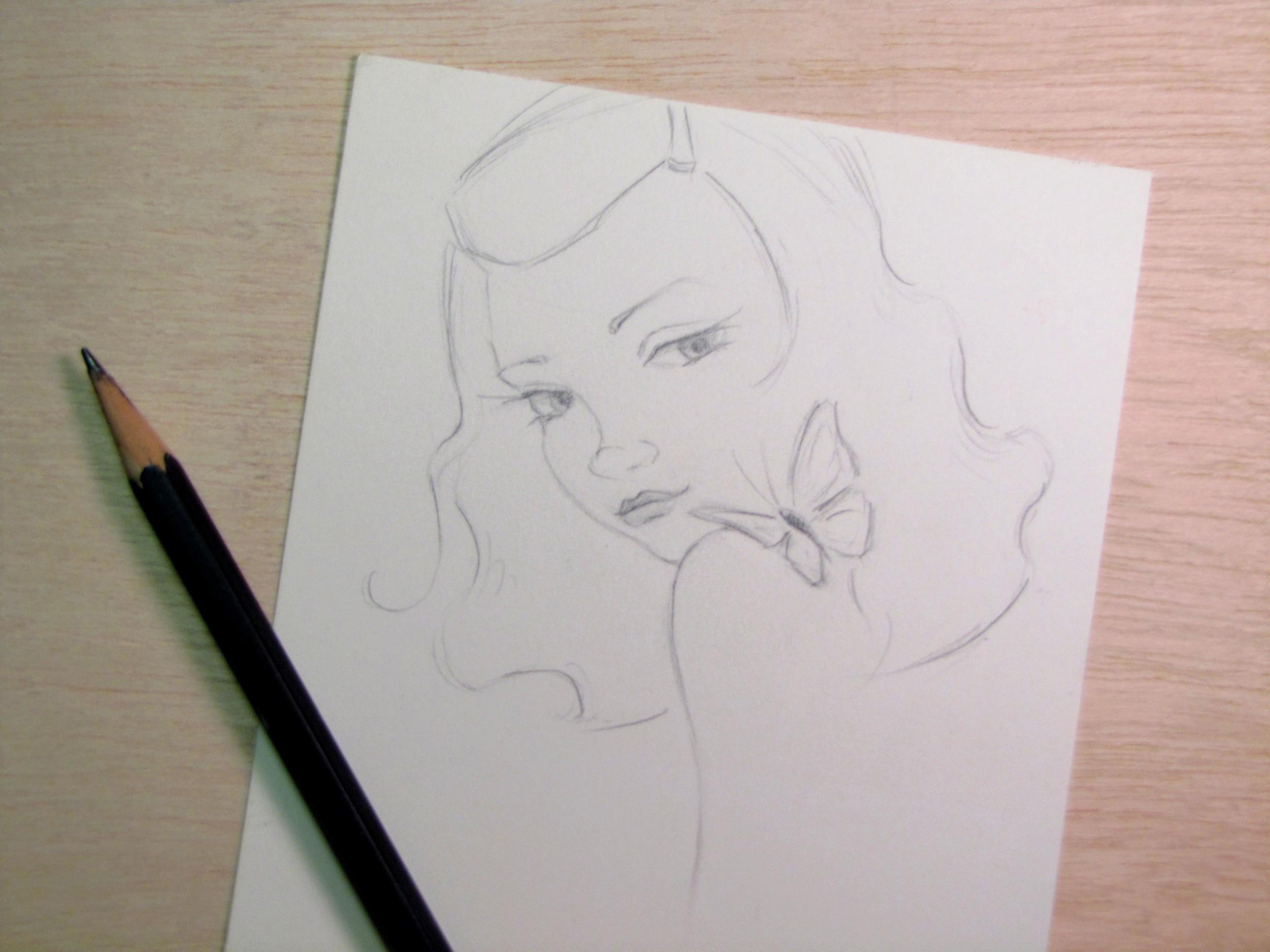 Gigi Reinette - transformation - girl and butterfly sketch