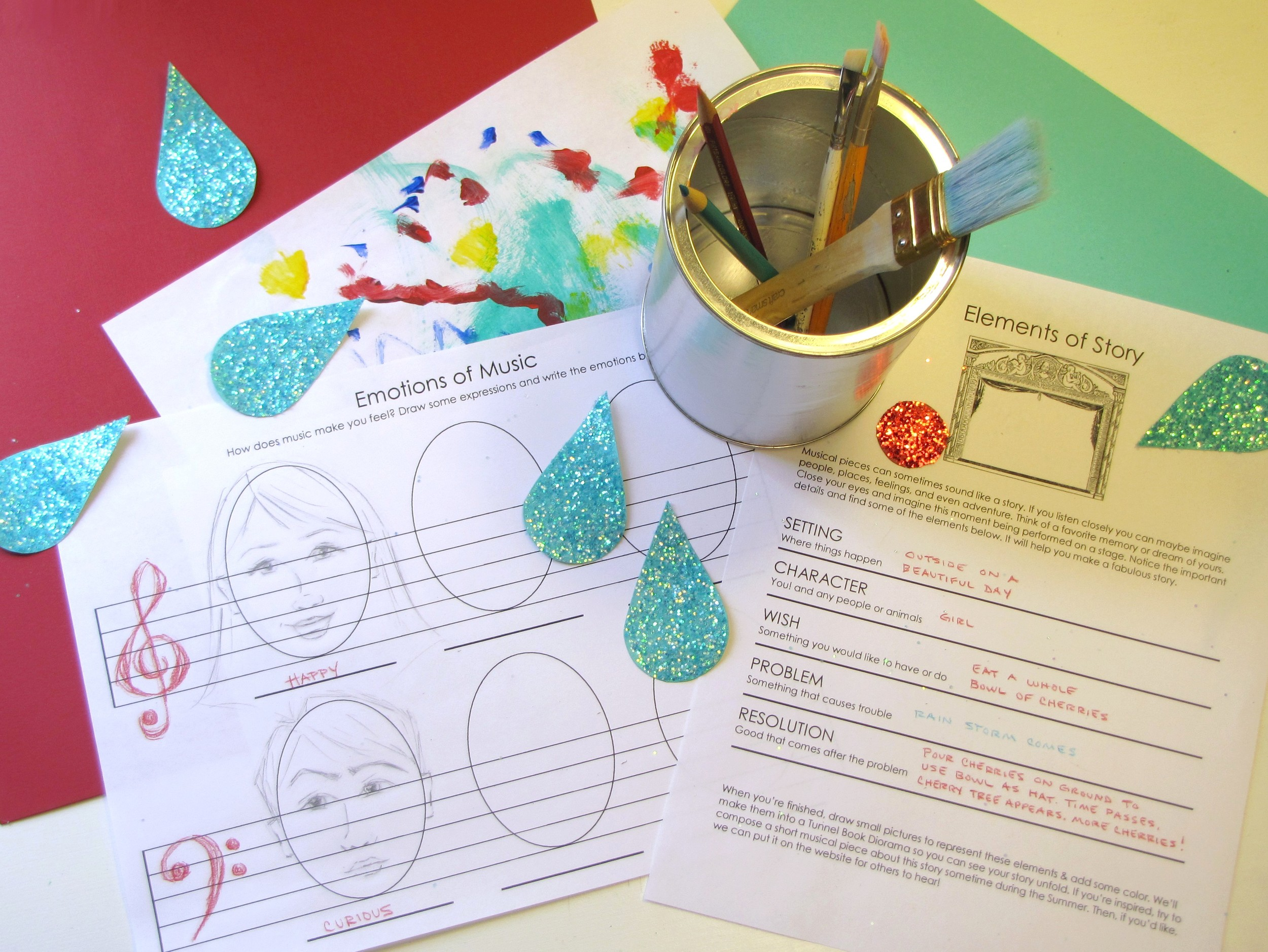 art, music, and story worksheets for kids