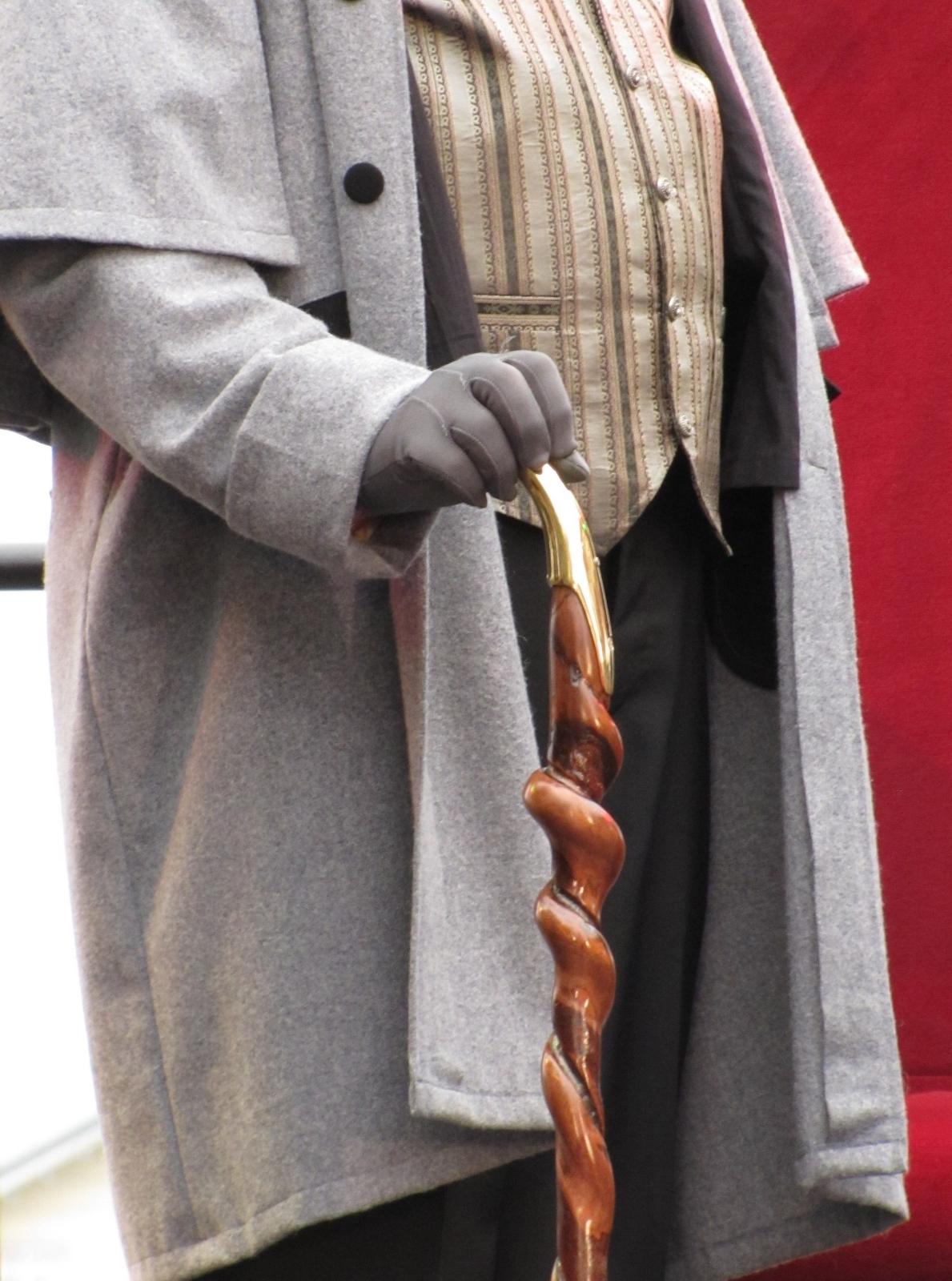 gentleman's cane, jacket, and vest in costume