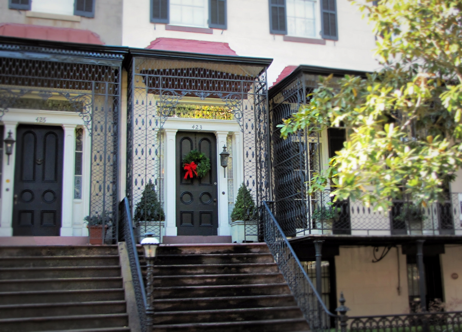 ornate ironwork historic house porch Savannah Georgia