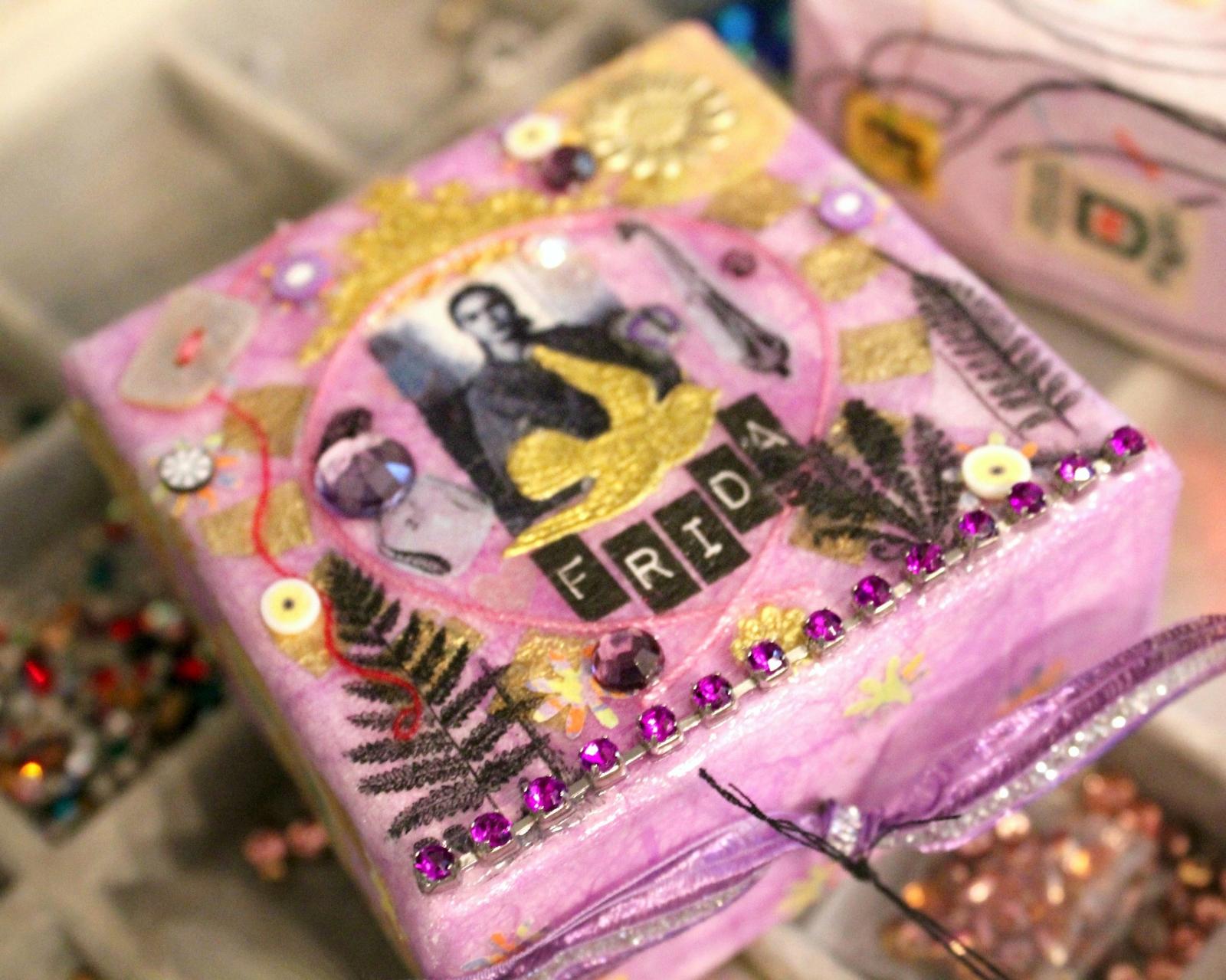 embellished mixed media Frida Khalo art by Caroline Daley
