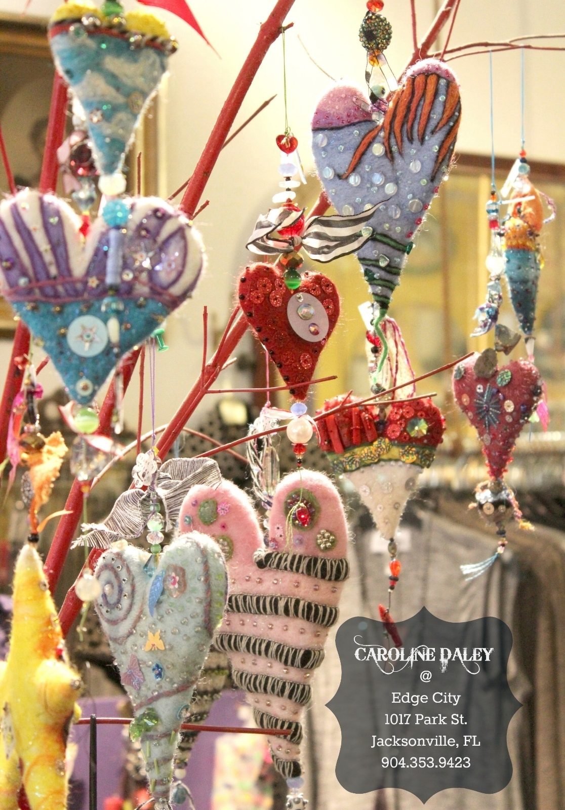 felted embellished heart and star ornaments by Caroline Daley