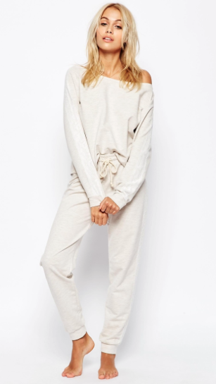 ASOS lounge oatmeal marl jersey jogger and off the shoulder sweatshirt.png
