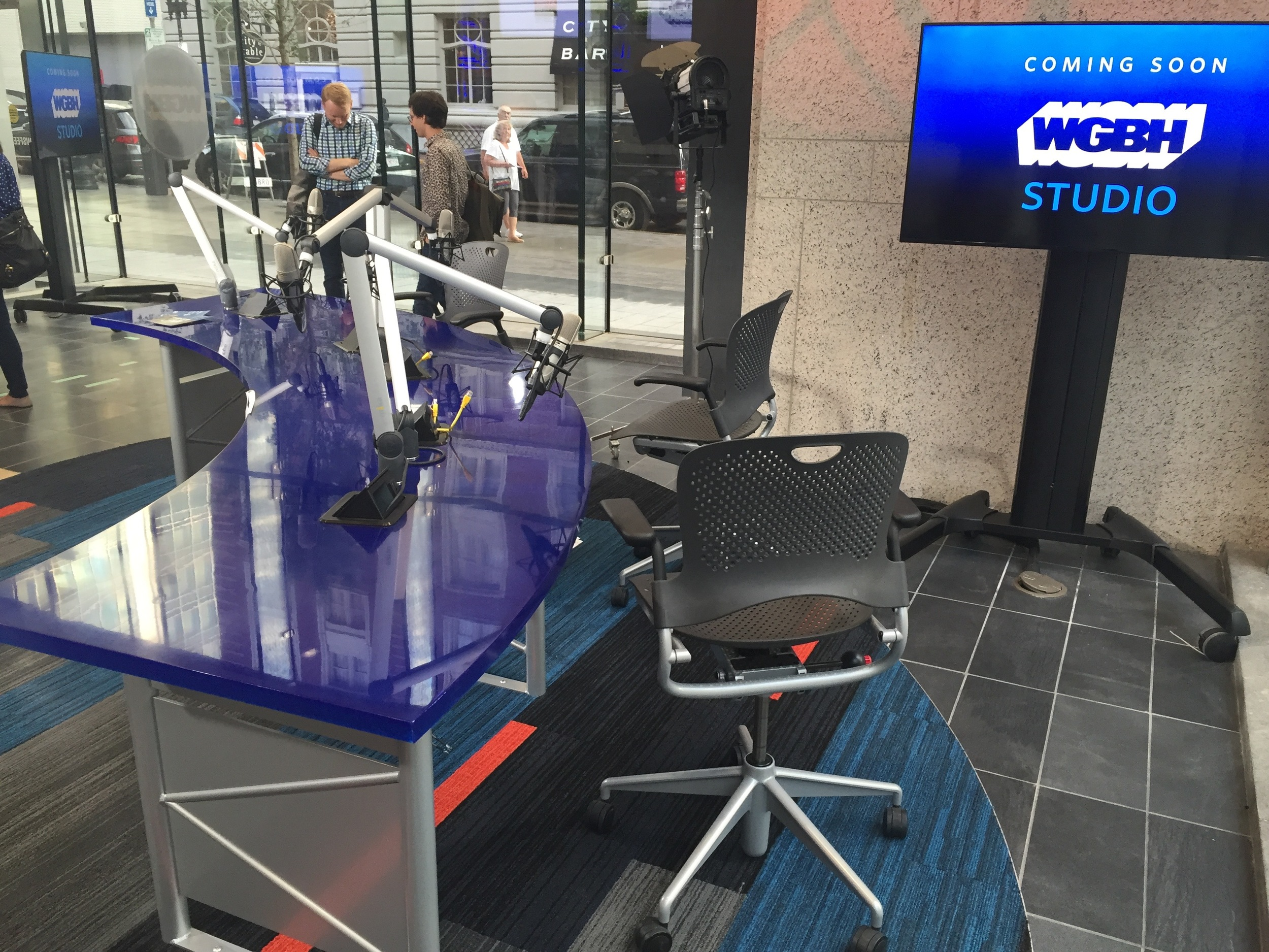 The new WGBH satellite studio at the Boston Public Library's NewsFeed Cafe.