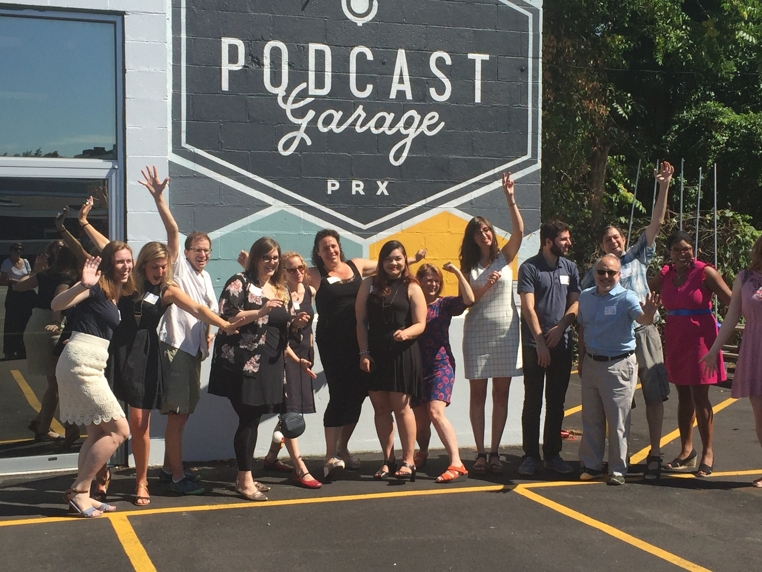 PRX staffers celebrate the opening of the Podcast Garage on August 3, 2016.