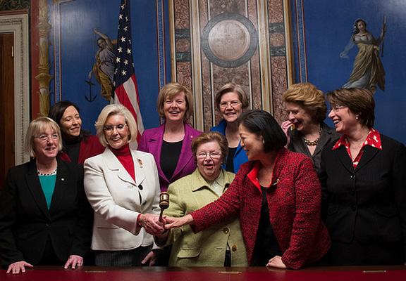 The women of the U.S. Senate at President Barack Obama's 2014 State of the Union address. Flickr Creative Commons photo.