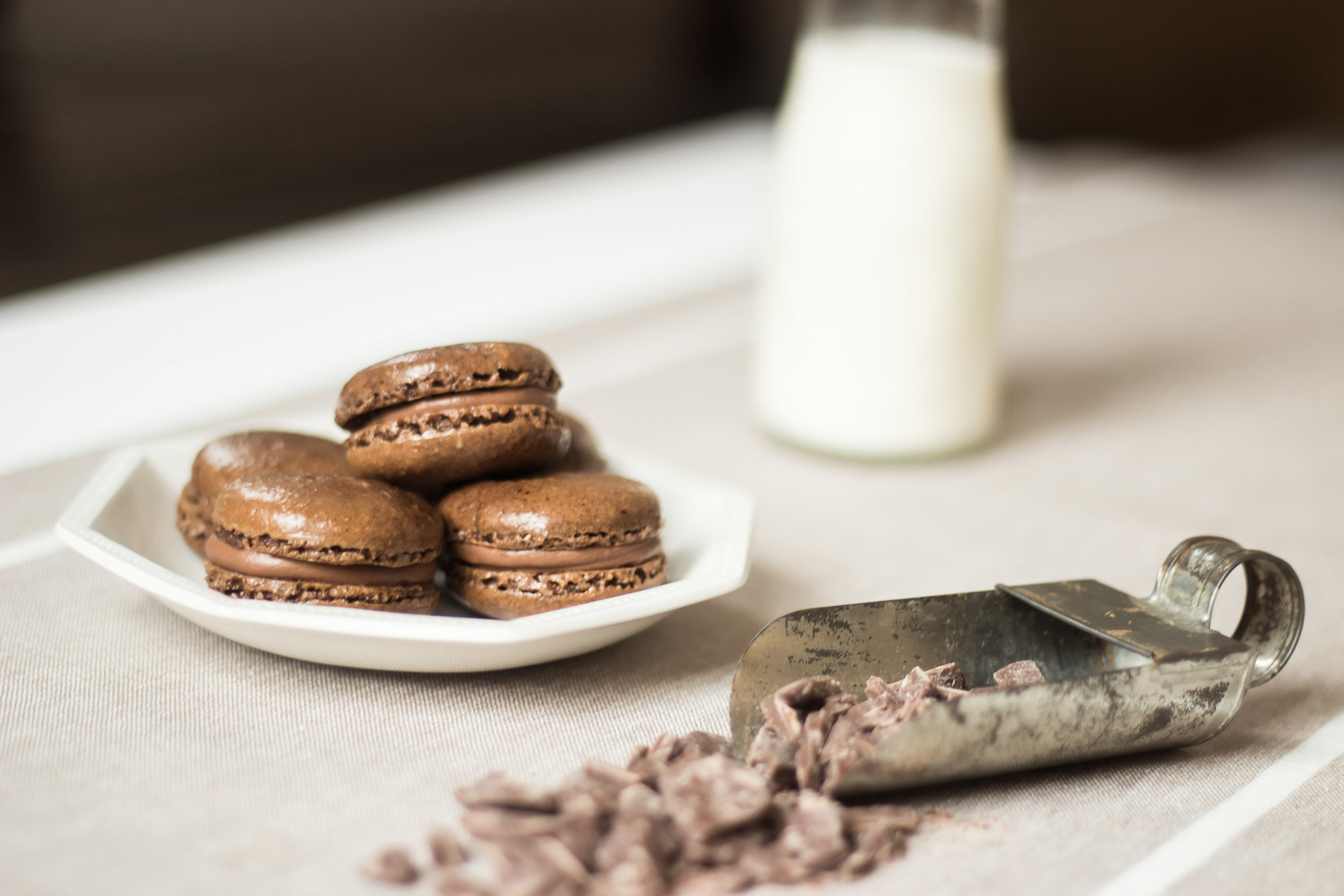 Mocha Macarons with Chocolate Hazelnut Ganache -