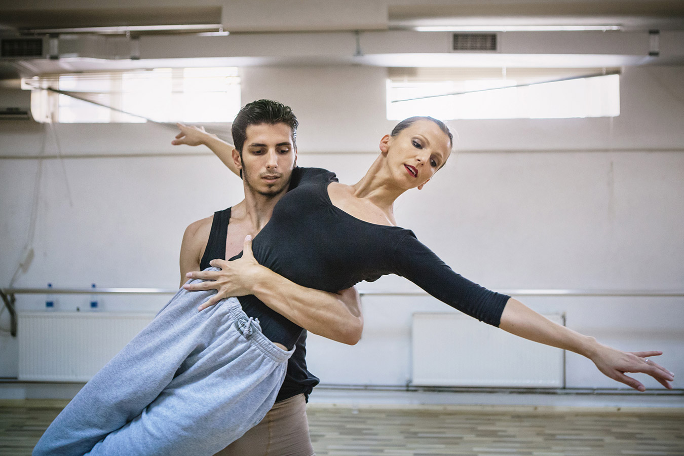 Fisnik Smani and Behie Murtezi during a rehearsal for the upcoming show. Both of them work full time for the ballet.