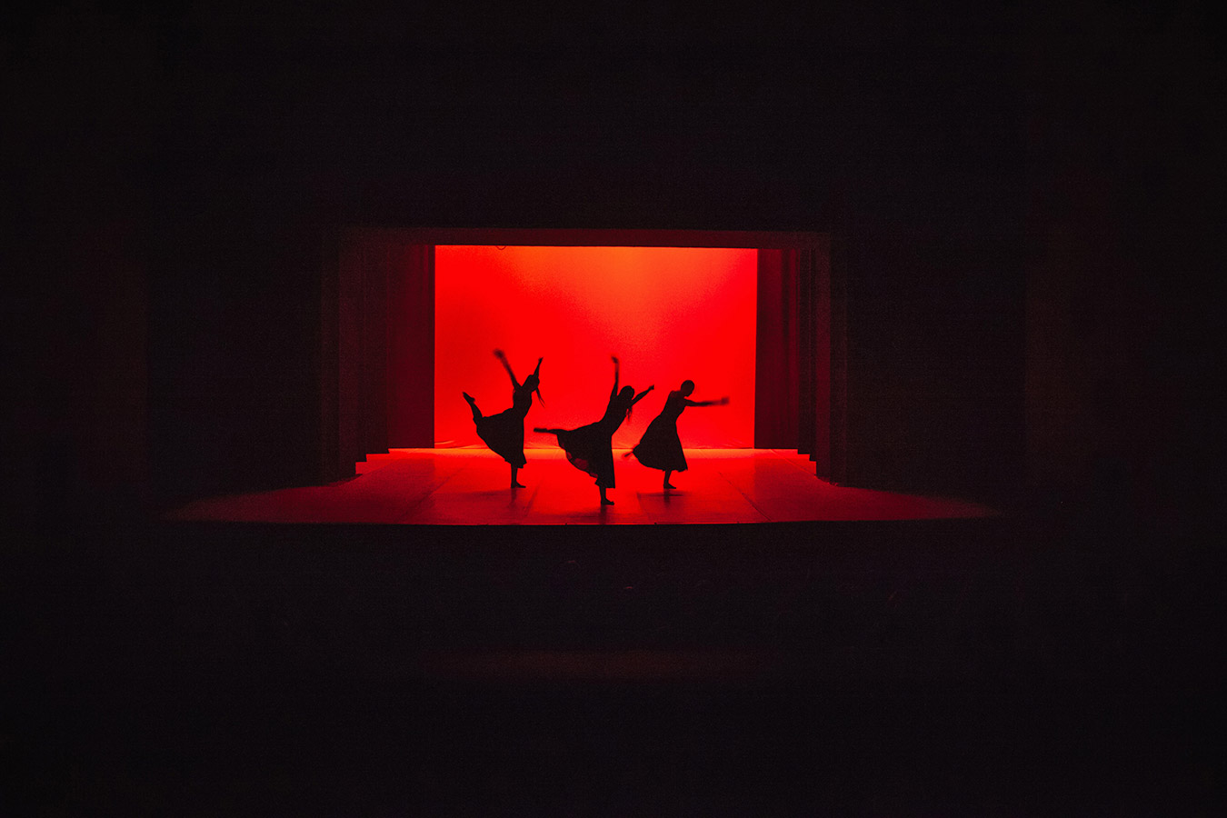 The troupe of the Kosovo National Ballet performs Where the Light Falls coreographed by Antonio Pio Fini at the National Theater of Kosovo, Pristina.