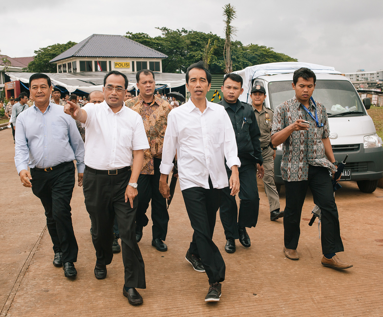 Joko Widodo during an inspection in North Jakarta.