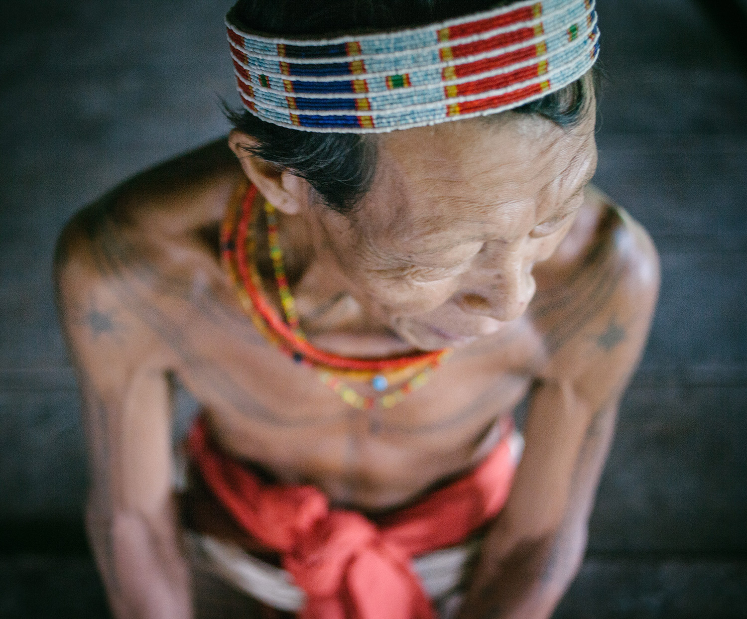 A Mentawai shaman in his house.