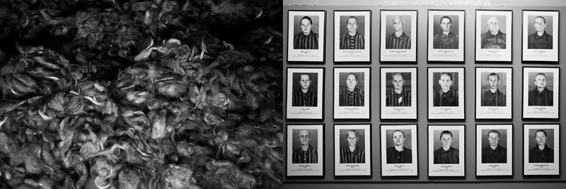 Nazi Germany collected the hair of the prisoner to be used as textile product, a practice that was also common during the war of historical times where the war champions wear clothing from their enemy's hair (left), Identification photographs showed the women prisoners being captive in Auschwitz (right)