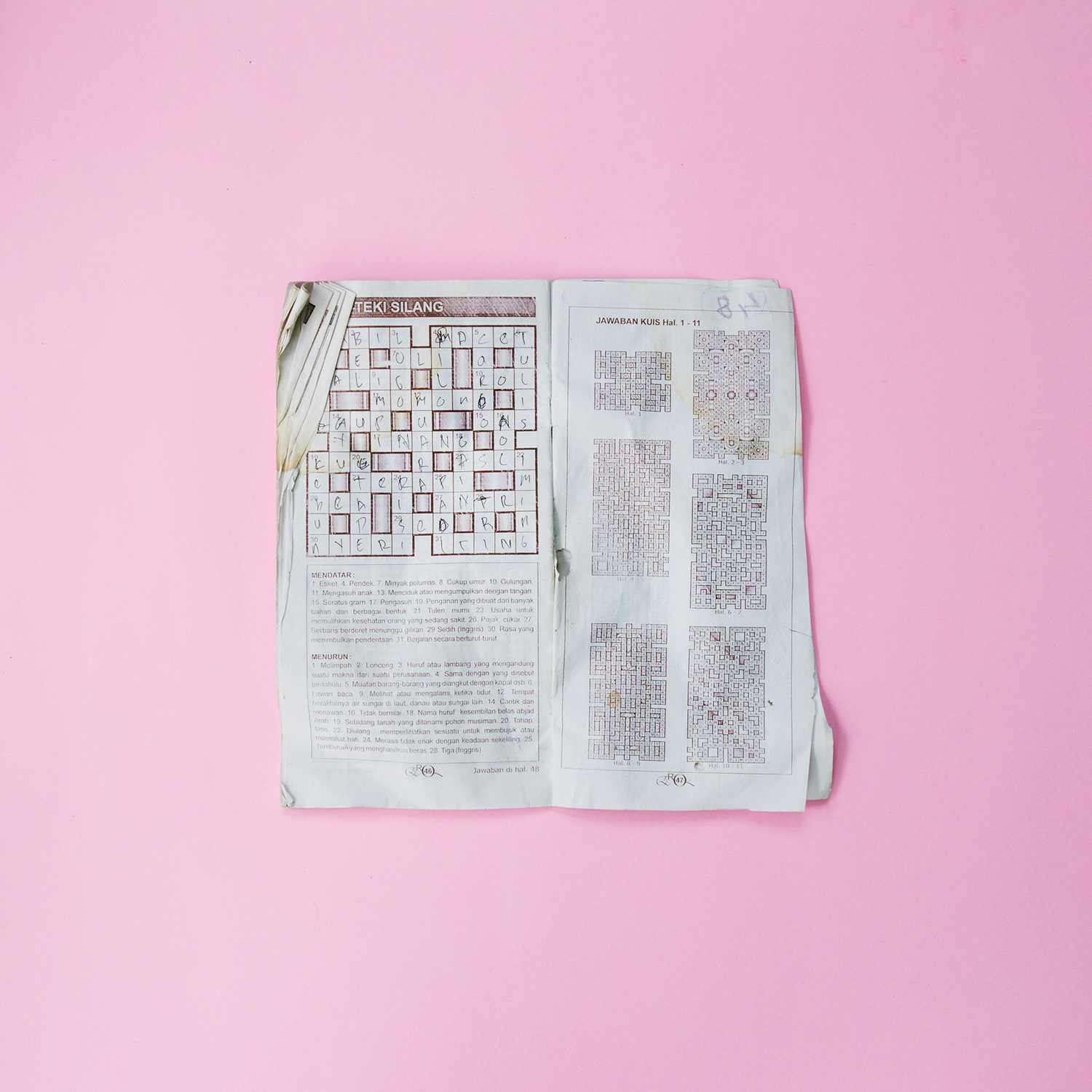 A crossword puzzle. Possibly used as a cure for boredom while the sex workers waiting for the clients in their prison-like rooms.