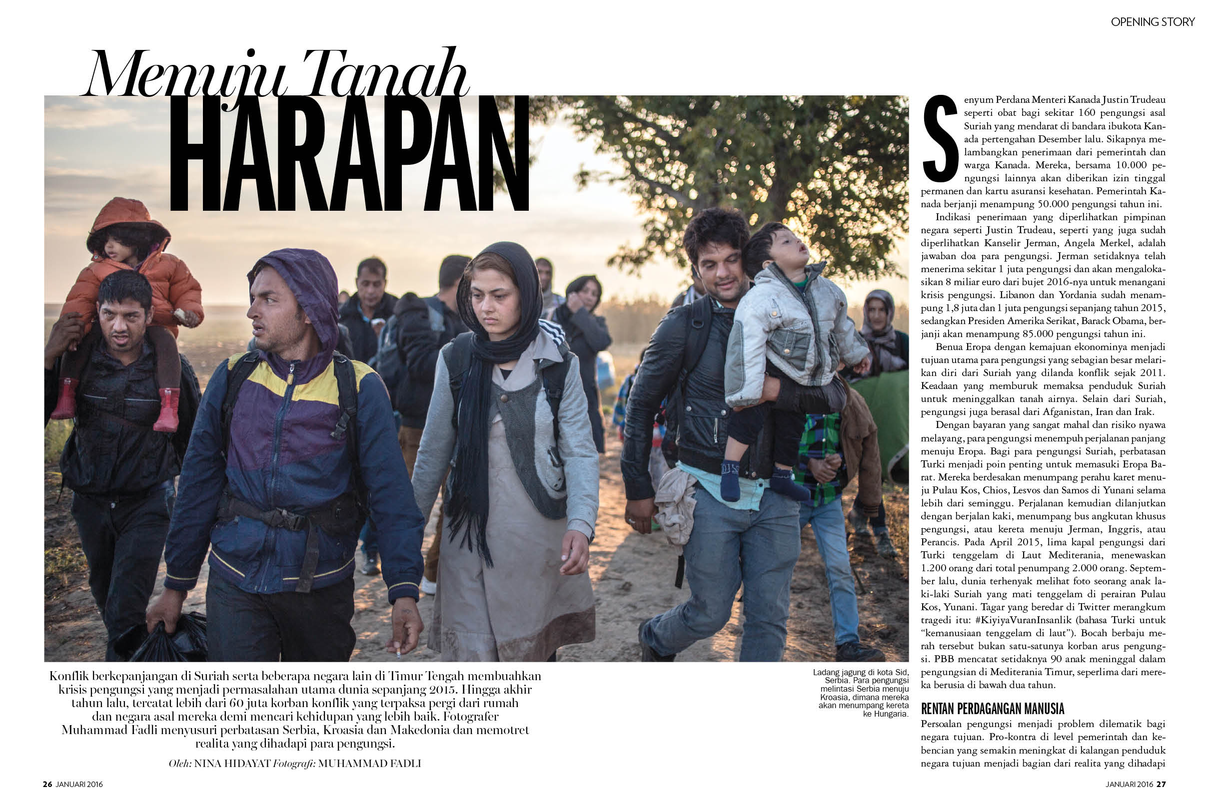 Refugee Crisis in Marie Claire Indonesia January 2016