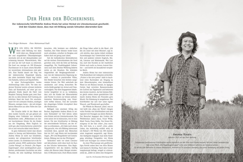 Indonesia's writer Andrea Hirata in  Mare Magazin  January 2017