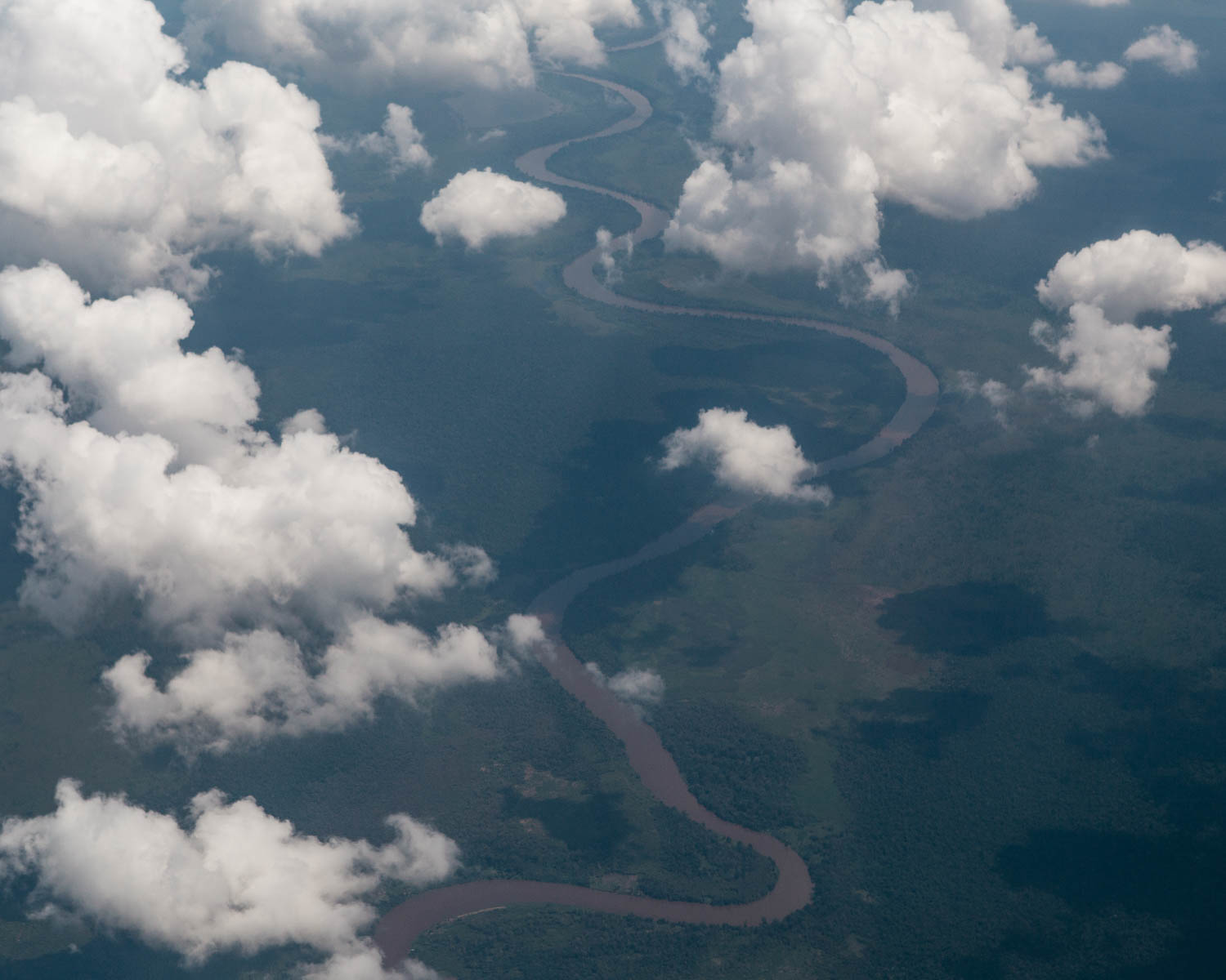 Aerial view of the forested area by the riverbank in Central Kalimantan.